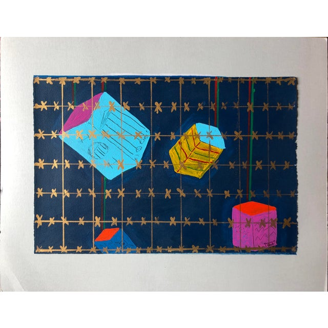 """Blue Frances Schifflette Hicks Abstract """"Floating Cubes"""" 1980s San Francisco Women Artists For Sale - Image 8 of 8"""