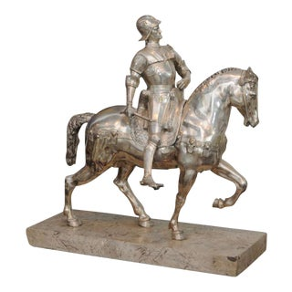 Italian Monumental Silvered Bronze Equestrian Figure For Sale