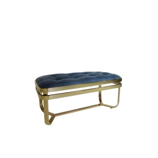 Mid Century Modern Brass Tufted Bench by George Koch & Sons Hollywood Regency