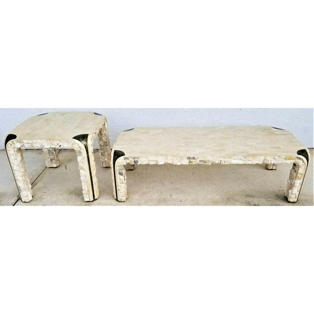 1980s Maitland Smith Tessellated Mactan Stone + Brass Coffee Table For Sale - Image 10 of 10