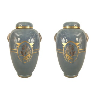 Pair of French 1930s Gray Ceramic Ginger Jars For Sale