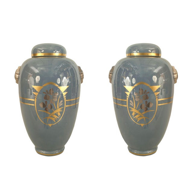 Pair of French 1930s White Ceramic Ginger Jars For Sale