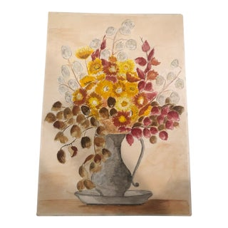 Original French Watercolor Still-Life of Strawflowers in Vase For Sale