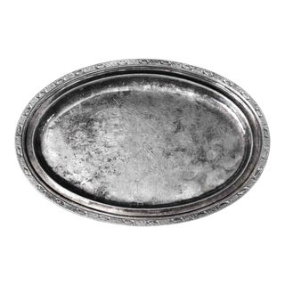 Salvaged Stamped Waldorf Astoria Art Deco Oval Serving Tray For Sale
