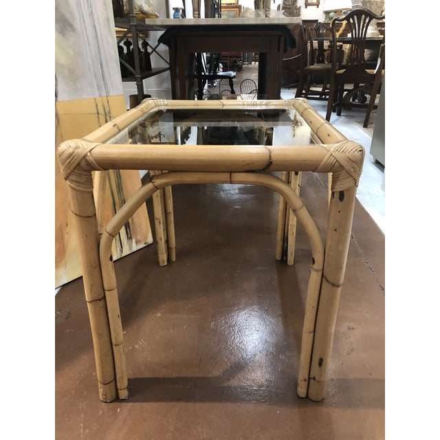 Glass Top Bamboo Side Tables - a Pair For Sale - Image 11 of 13