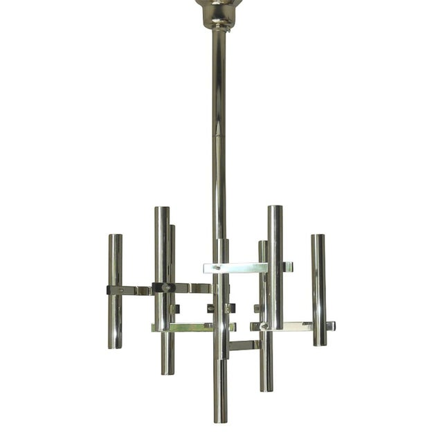 1960s Geometric Nine Chrome Tubes Pendant For Sale - Image 5 of 5