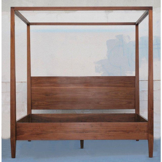 This mid-century design bed is seen here in black walnut with oil finish. Because this piece is bench-made in our own Los...