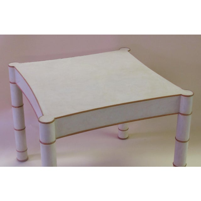 Modern A Stylish American 1970's Karl Springer Style Parchment-Veneered Faux Bamboo Game Table For Sale - Image 3 of 4