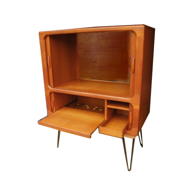 Danish Modern MCM Teak Cabinet With Tambour Doors by Dyrlund For Sale - Image 3 of 8