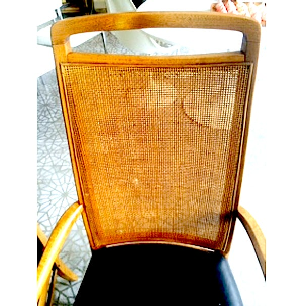 Mid-Century Wood & Cane Armchairs - a Pair - Image 5 of 5