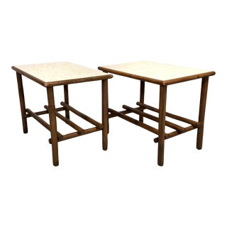 Vintage Mid Century Bamboo Side Tables - a Pair For Sale