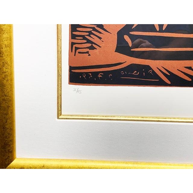 "1950s Vintage Pablo Picasso Original Linoleum Cut ""Exposition Ceramique Vallauris, 1959"" Signed Print For Sale - Image 6 of 10"
