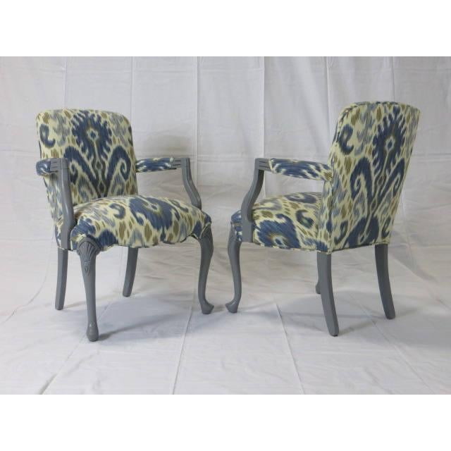 Gray Lacquered Cabriole Leg Chairs Reupholstered in Kravet - A Pair For Sale In New York - Image 6 of 11