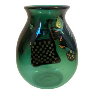 1996 Dichroic Art Glass Vase in Green For Sale