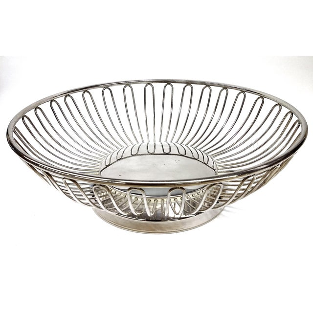 Mid-Century Silver Plate Openwork Modern Fruitbowl - Image 8 of 8