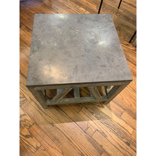 Rustic Old Fir and Bluestone Side Table For Sale - Image 3 of 4