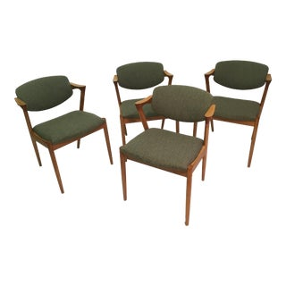 1960s Mid-Century Modern Kai Kristiansen Set of Four Restored Dining Chairs in Oak, Inc. Reupholstery - Set of 4 For Sale