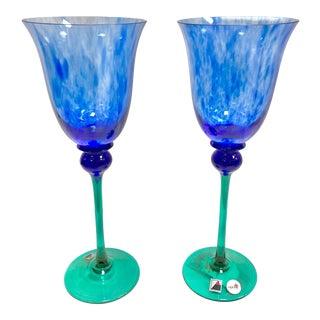"""Set of 2 Signed Opus """"Mardi Gras"""" Blue 8oz Wine Goblet For Sale"""