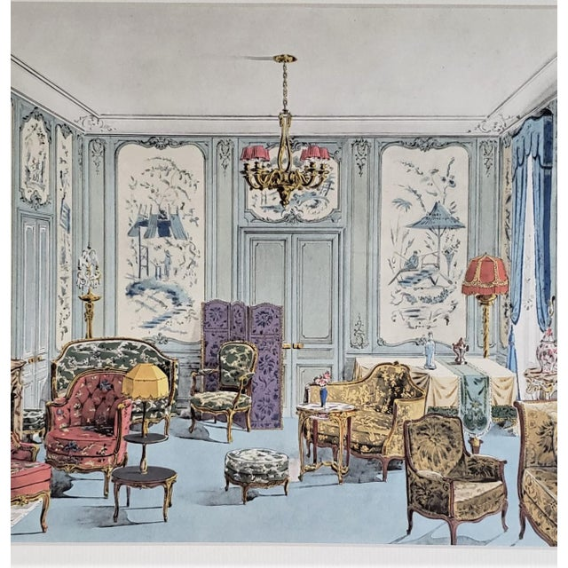 Matted 1925 French Interior Furniture Lithograph For Sale - Image 4 of 5