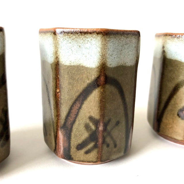 Stoneware Sake Cups, set of 4 For Sale - Image 4 of 6