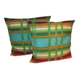 Pair of Vibrant 19th Century Horse Blanket Pillows For Sale