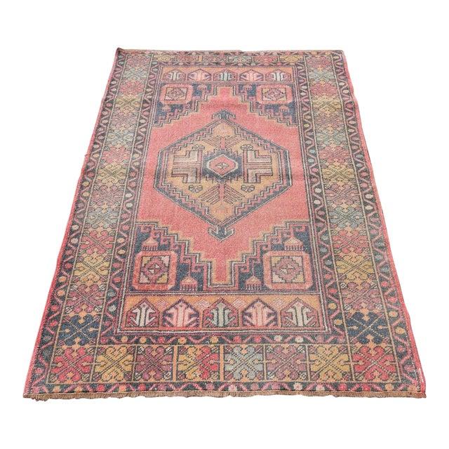 "Vintage Turkish Handmade Anatolian Wool Carpet - 3'6"" X 5'6"" - Image 1 of 7"