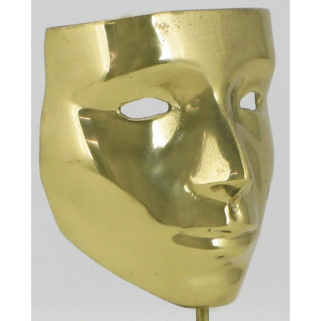 Early 20th Century Pair Brass Carnivale Masks Mounted On Black Marble For Sale - Image 5 of 8