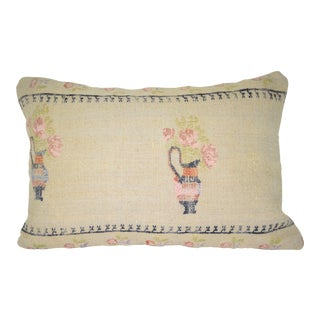 Needlepoint Tapestry Aubusson Woven Small Kilim Pillow Cover, Lumbar Pillow Cover 16'' X 24'' (40 X 60 Cm) For Sale