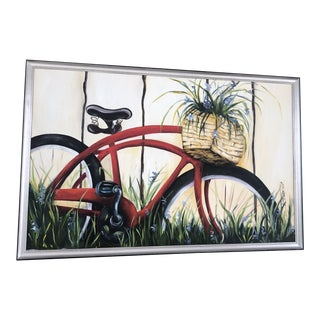 Contemporary Still Life Bicycle Painting, Signed D. Piero For Sale