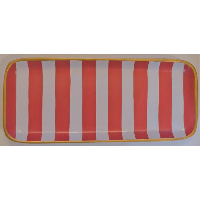 Dana Gibson Melon and White Striped Trinket Tray For Sale - Image 9 of 13