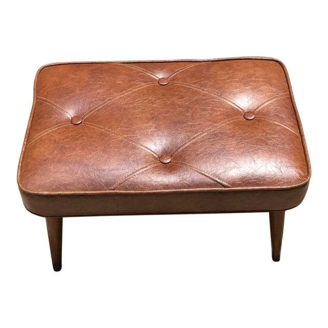 Mid-Century Brown Naugahyde Hassock Footstool - Image 1 of 11