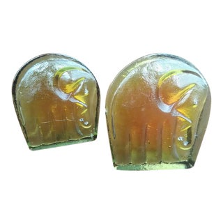Vintage Blenko Glass Elephant Bookends - A Pair For Sale