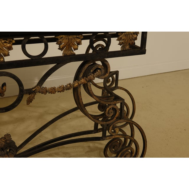 Wrought Iron Base Console Table with Maple Top For Sale - Image 11 of 13
