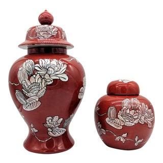 Vintage Red Floral Ginger Jars - Set of 2 For Sale