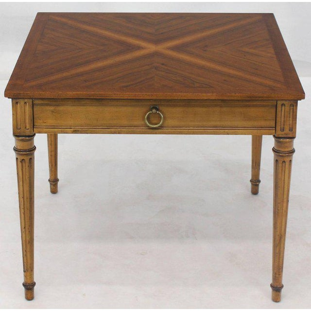 1960s Mid-Century Modern Baker Square Satinwood Side Lamp Table For Sale - Image 10 of 11