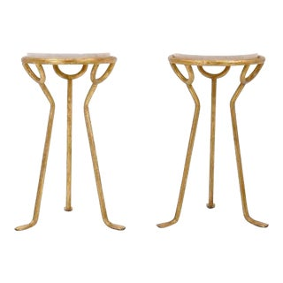 Elegant Italian Gold Gilded Side Tables with Travertine Tops For Sale