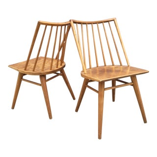 Russel Wright Mid-Century Blonde Windsor Chairs - A Pair