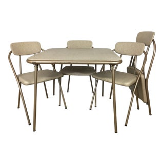 Vintage Stylaire Mid Century Modern Folding Table and Chairs For Sale