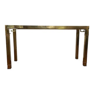 1970's Hollywood Regency Mastercraft Brass Greek Key Console Table For Sale