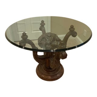 Beveled Glass Top on Carved Base For Sale