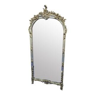 Vintage Labarge Silver Leaf Heavily Carved Wood Mirror For Sale