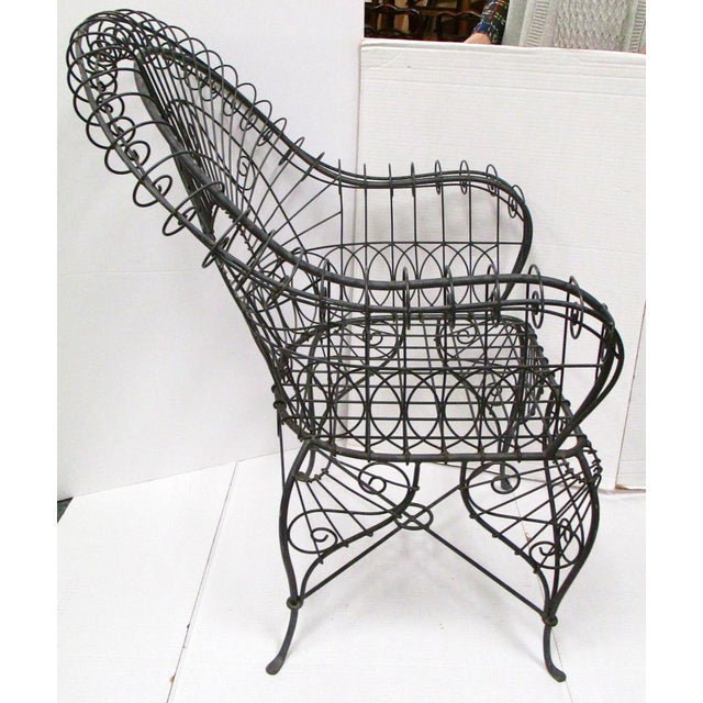 Victorian Style Black Wire Garden Chair - Image 6 of 6
