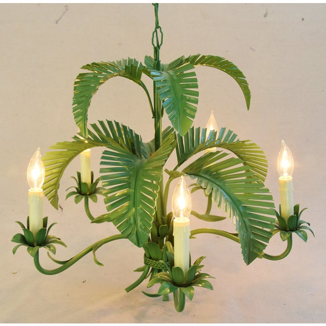 Vintage Five-Arm/Light Italian Palm Leaf Tropical Tole Chandelier For Sale - Image 11 of 11