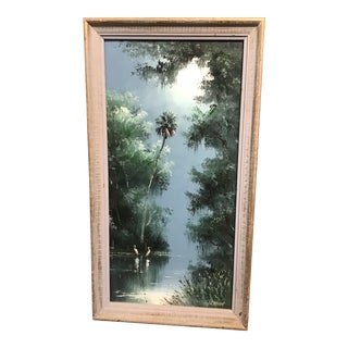 Late 20th Century Highwayman Florida Landscape Oil Painting by Sam Newton, Framed For Sale