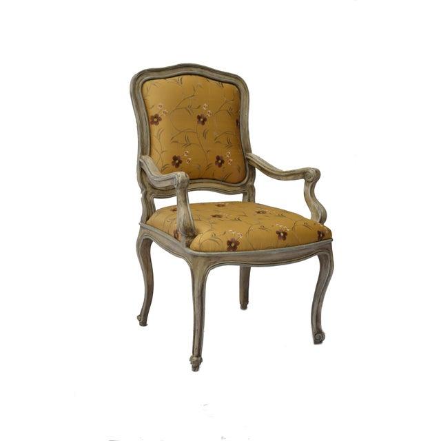 Hand Painted Arm Chair with Silk Upholstery - Image 3 of 4