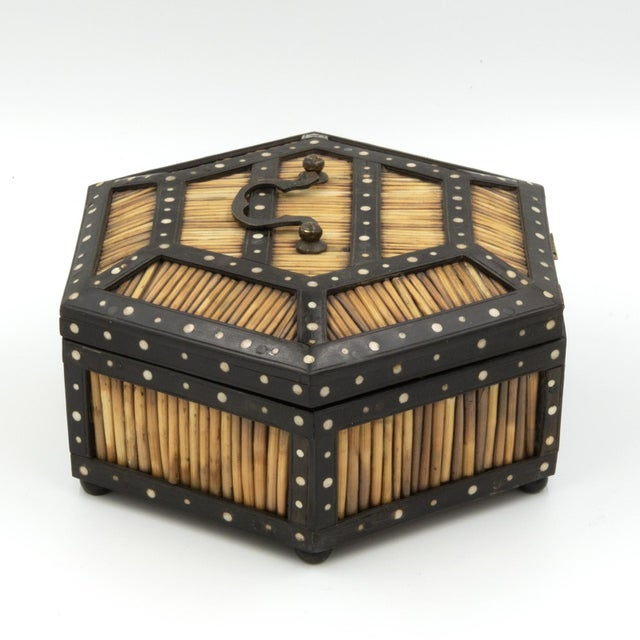 Wood Pair of Ebony and Porcupine Quill Hexagonal Boxes, Ceylon, Circa 1880 For Sale - Image 7 of 10