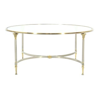 Mid-Century Modern Round Glass Brass and Pewter Coffee Table For Sale