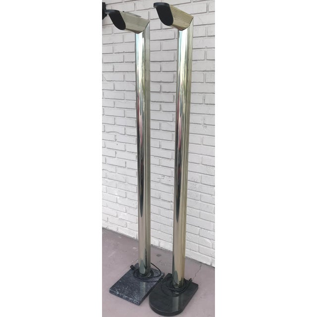 Mid-Century Modern 1970s Mid Century Modern Gold Floor Lamps on Black Marble Bases - a Pair For Sale - Image 3 of 13