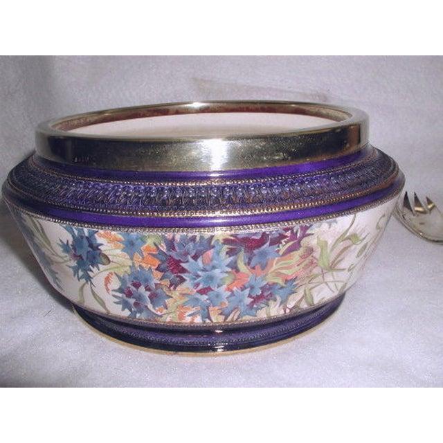 19th Century English Signed Porcelain Silver Salad Set - S/3 - Image 9 of 10