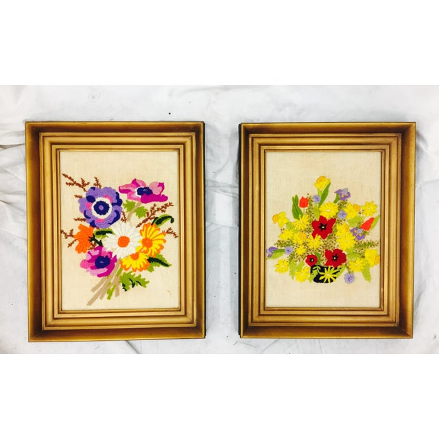 Vintage Floral Needlepoint Panels- A Pair - Image 2 of 7